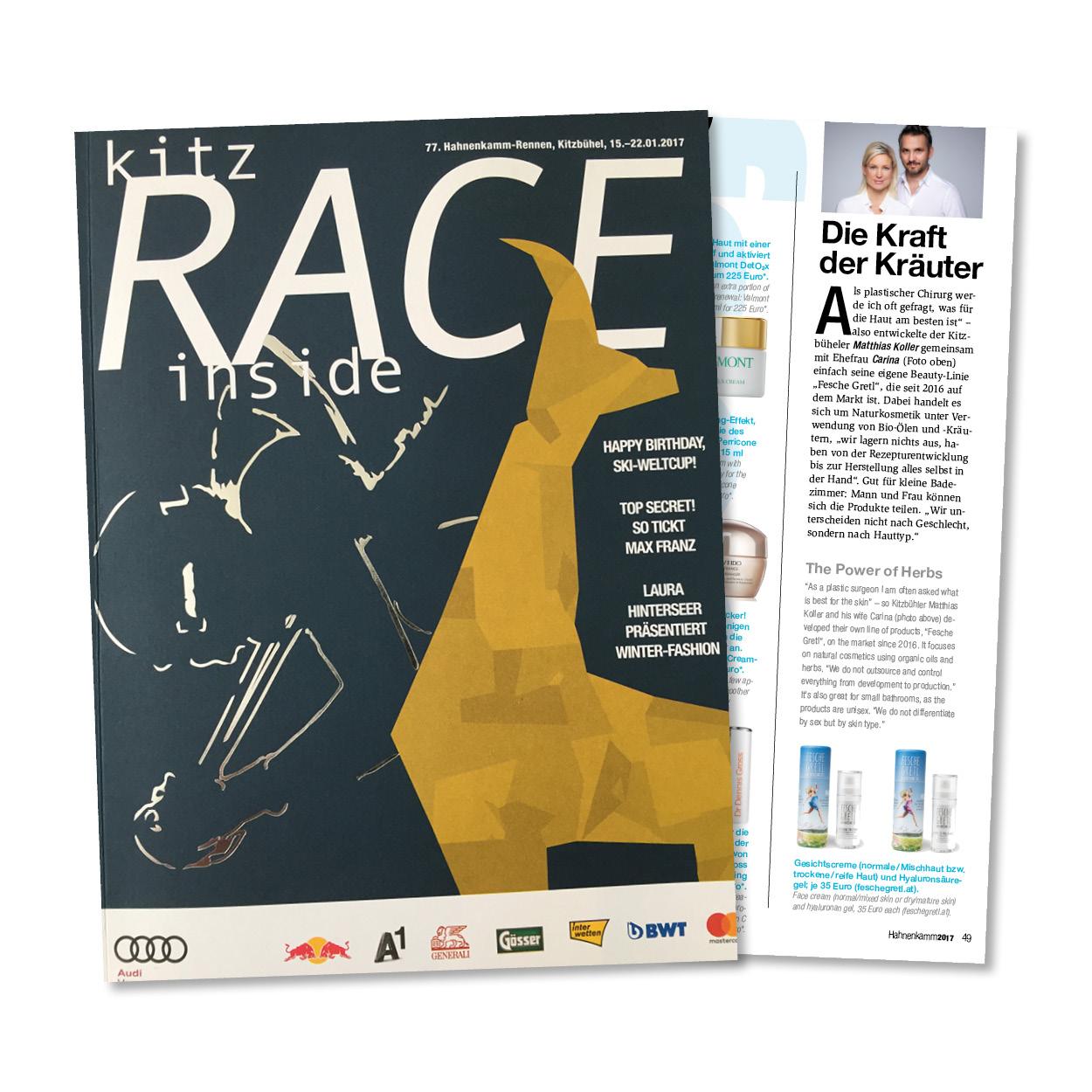 Die FESCHE GRETL in der Kitz RACE Ausgabe, Hahnenkamm Rennen Kitzbühel 2017