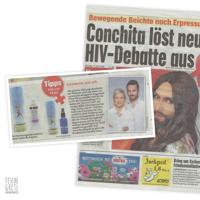 Fesche Gretl Naturkosmetik Artikel in der Kronen Zeitung