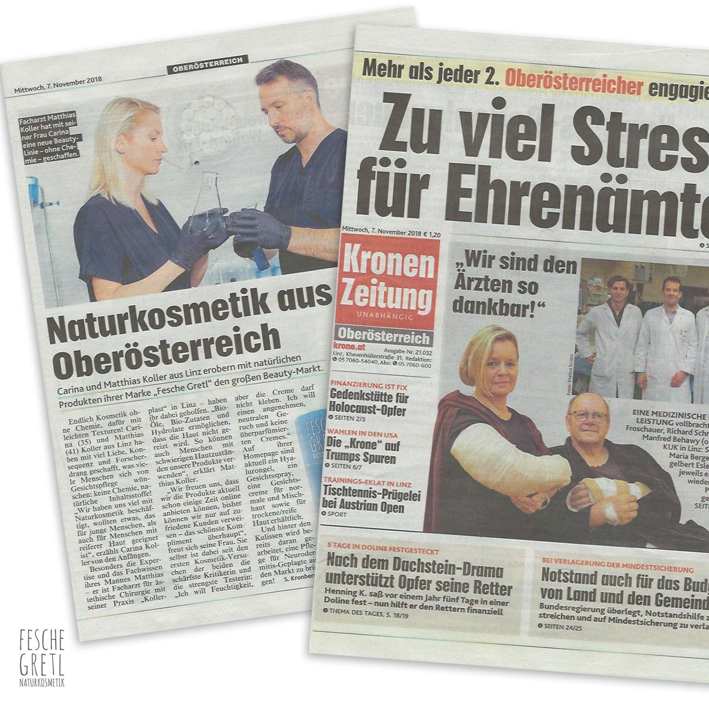 Fesche Gretl Naturkosmetik Arktiel in der Krone, Zeitungsartikel