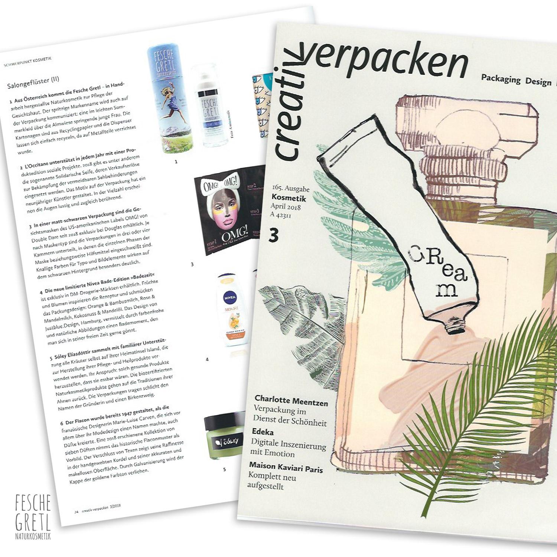 Fesche Gretl Naturkosmetik Arktiel in creativverpacken, Zeitungsartikel